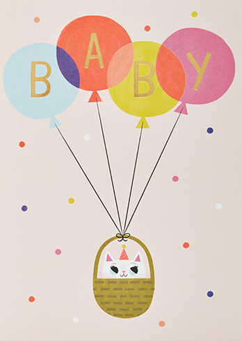 Cat and balloons blank card 1