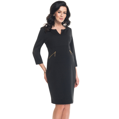 Zanette black maternity dress with zipper accents 1