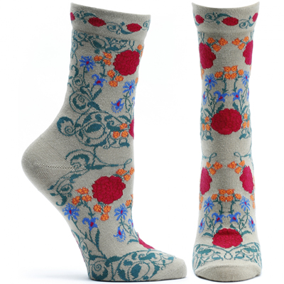 Beige Rajasthani rose socks (women's) 1