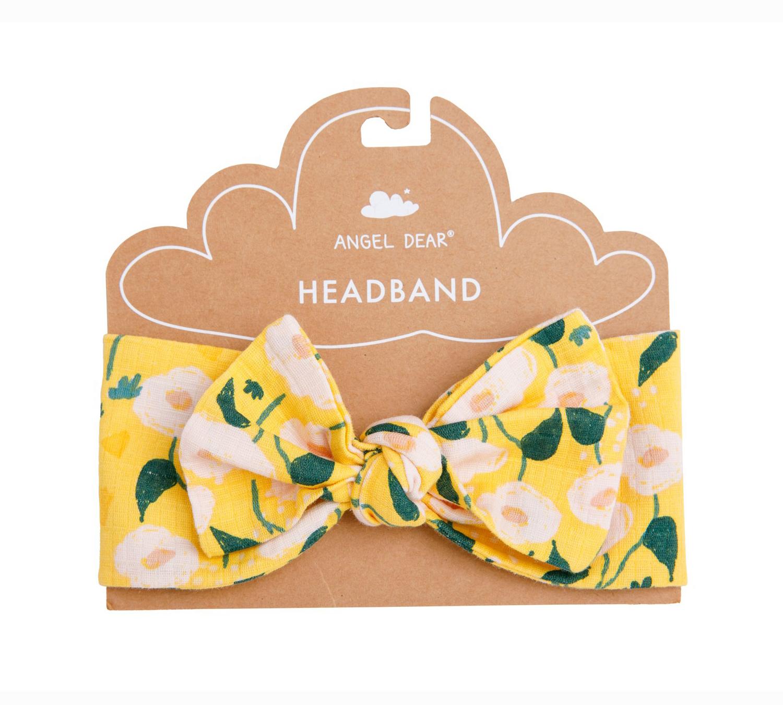 Golden floral muslin headband 1