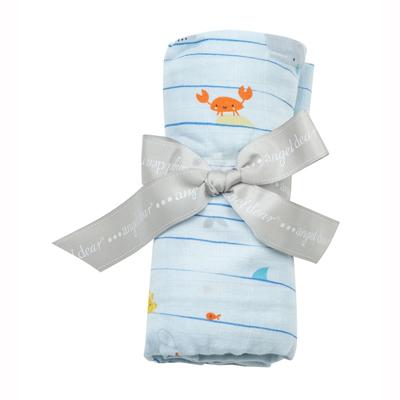 Sea stripes muslin swaddle blanket 1