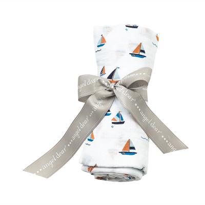 Simple boats muslin swaddle blanket 1
