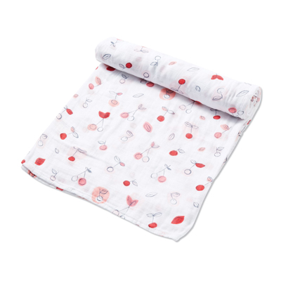 Cherry O muslin swaddle blanket 1