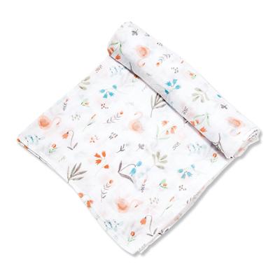 Swan floral muslin swaddle blanket 1