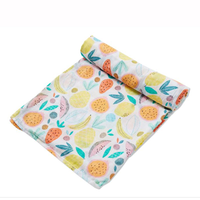 Tropical Fruits muslin swaddle blanket 1