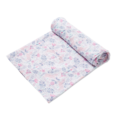 Unicorn Damask muslin swaddle blanket 1