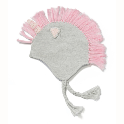 Grey and pink Unicorn hat 1