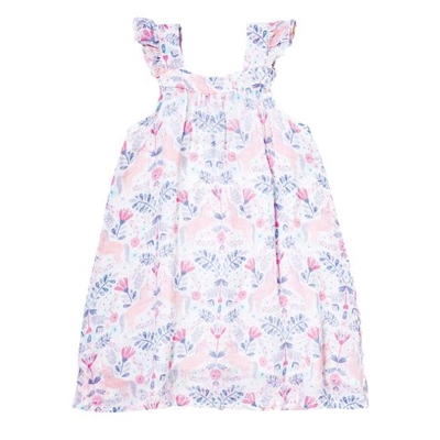 Unicorn Damask muslin sundress - 3T 1