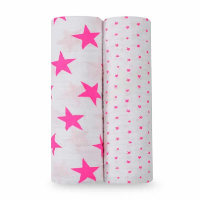 Fluro-pink muslin swaddle two pack 2