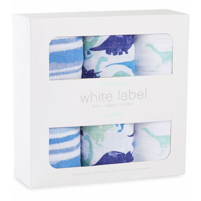 White Label Jurassic 3 pack of swaddles 2