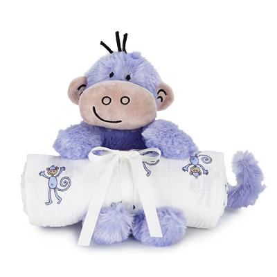 Monkey swaddle blanket and cuddle companion 1