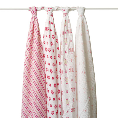 Princess Posie set of 4 muslin swaddle blankets by Aden & Anais 1