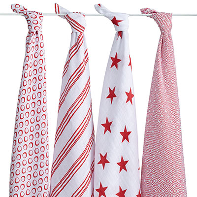 RED collection 4 pack of swaddles 2