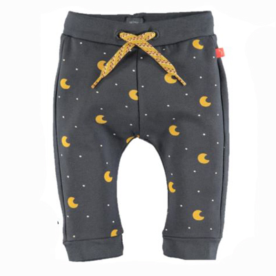 Yellow moons on grey baby pants 1