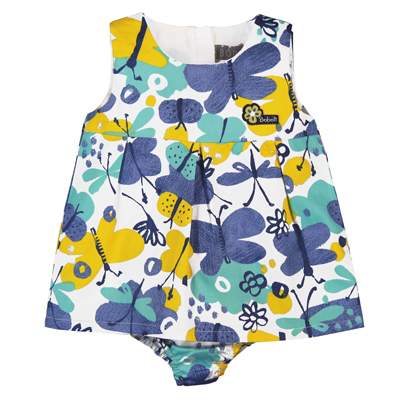 Blue and yellow butterfly dress with bloomer 1