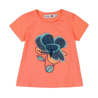 Coral shirt with fabric flower - 4 1
