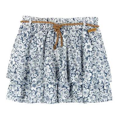 Blue floral tier skirt with belt 1