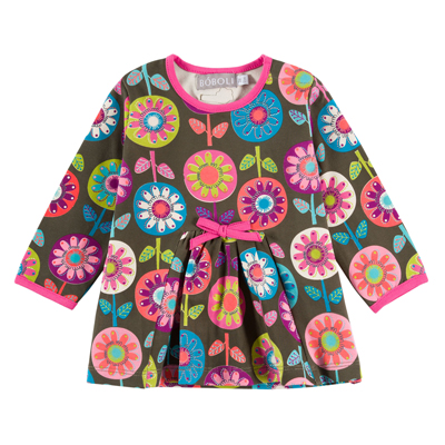 Brown and Pink floral dress - 4T 1
