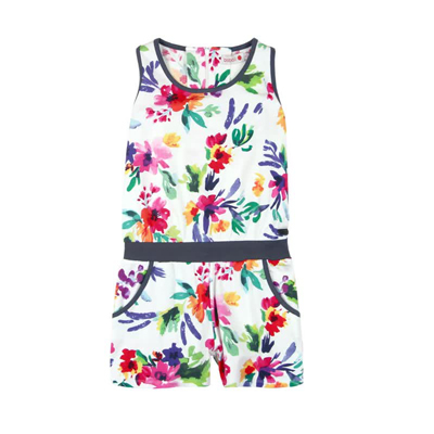 Floral romper with navy trim - 4 1