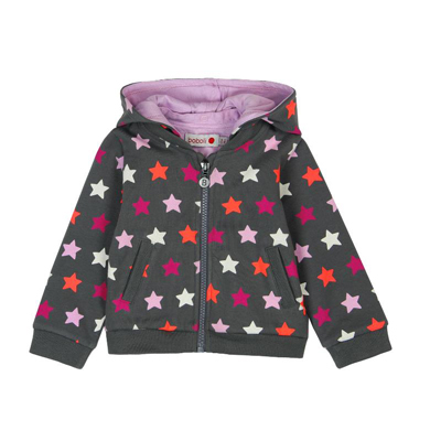 Pink and grey stars zip hoodie - 6 months 1