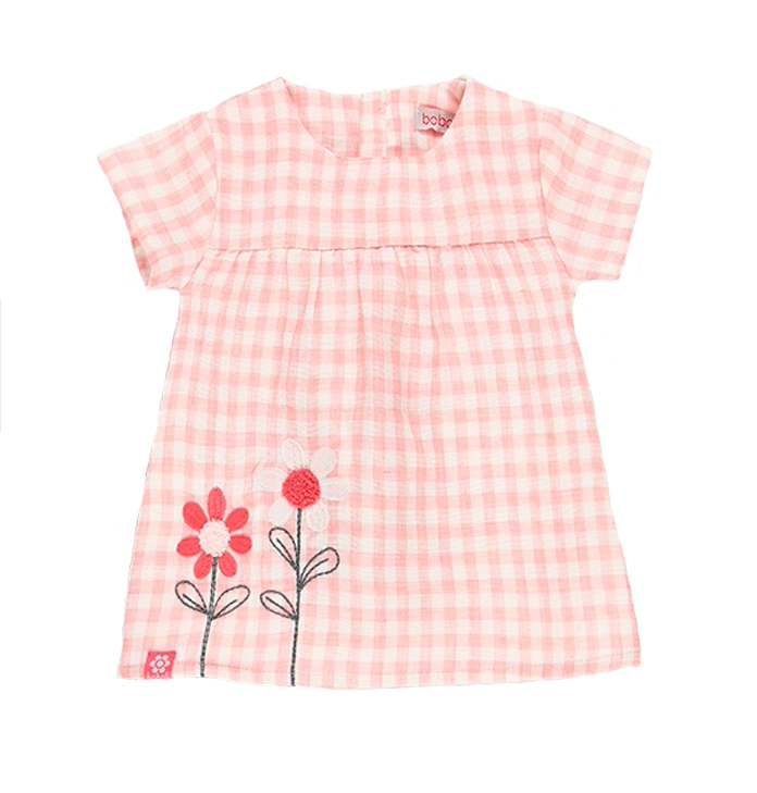 Baby Pink gingham floral dress and diaper cover 1