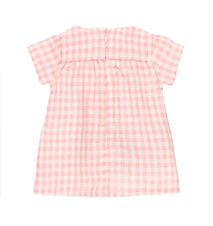 Baby Pink gingham floral dress and diaper cover 2
