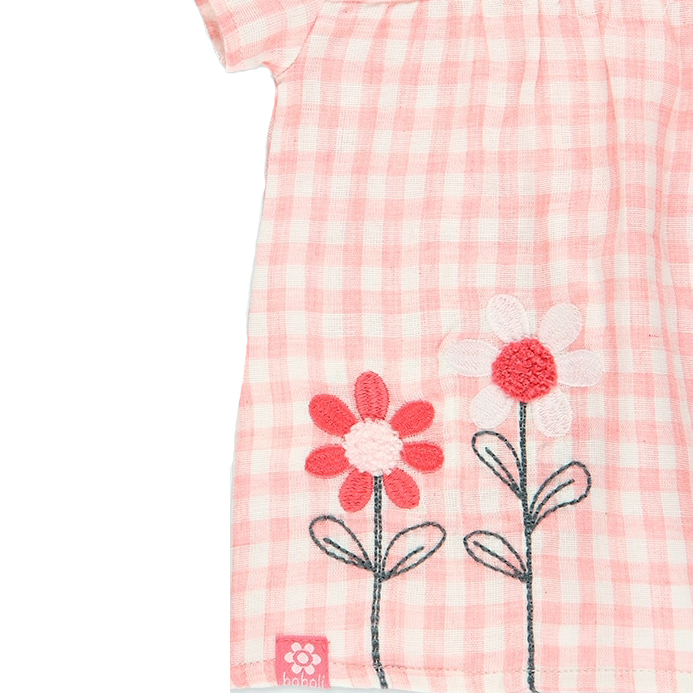 Baby Pink gingham floral dress and diaper cover 3