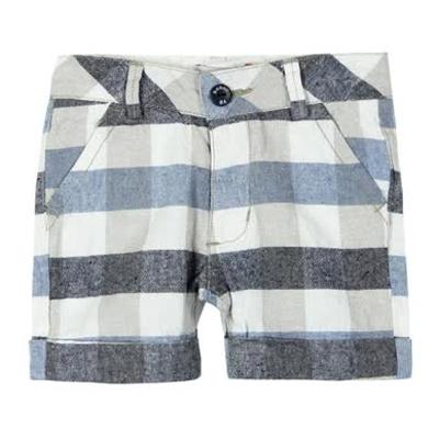 Blue plaid linen shorts 1