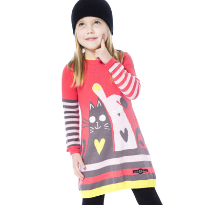 Cat and Dog knit dress 2