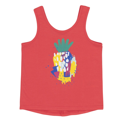 Coral Tank Top With Pineapple Print 1