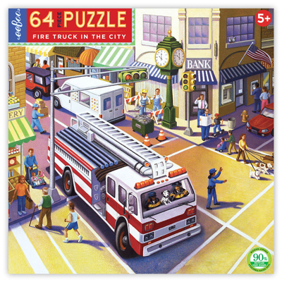 Fire Truck in the city 64 piece puzzle 1