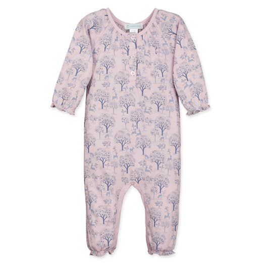 Deer and Appletrees on Pink Ruched Romper 1