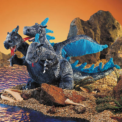 Blue 3 Headed Dragon puppet by Folkmanis 1