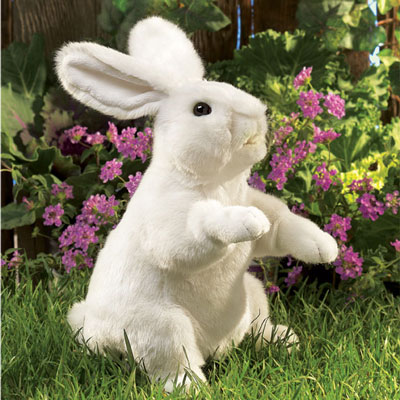 White standing rabbit puppet by Folkmanis 1