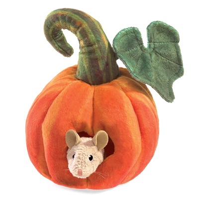 Mouse in a pumpkin puppet 1
