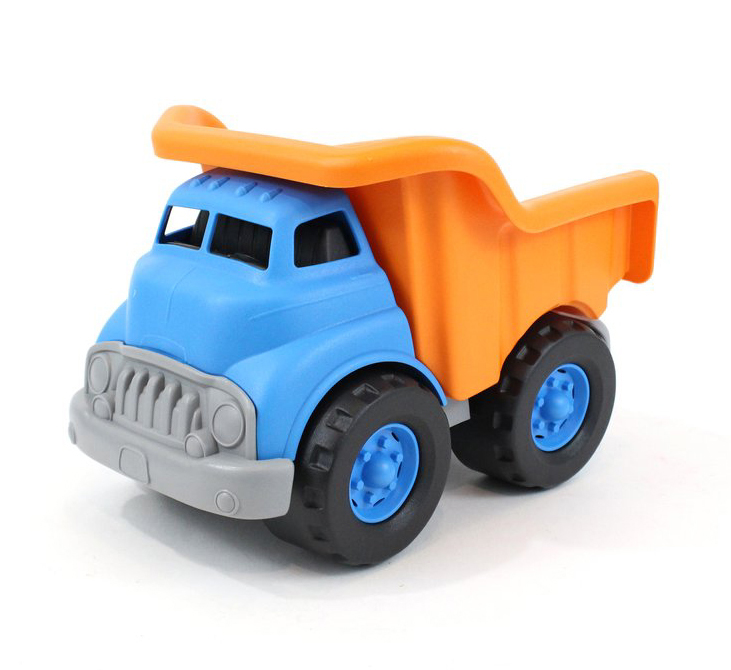 Blue and orange dump truck by Green Toys 1