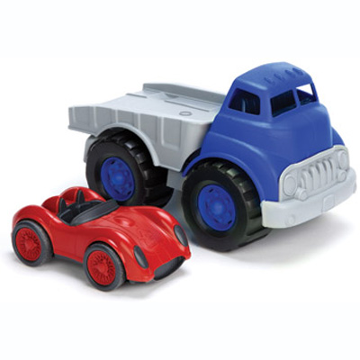 Flatbed Truck and Race Car Set by Green Toys 1