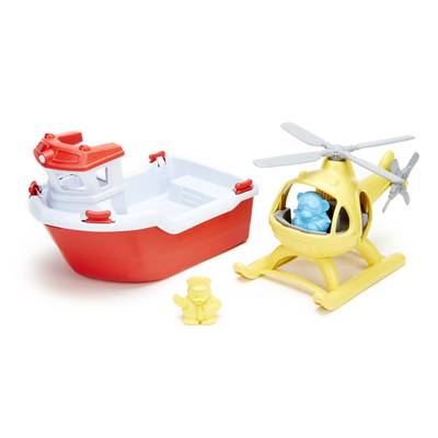 Rescue boat and helicopter by Green Toys 1