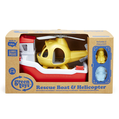 Rescue boat and helicopter by Green Toys 2