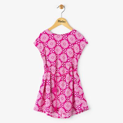 Fuschia compass woven belted dress 1