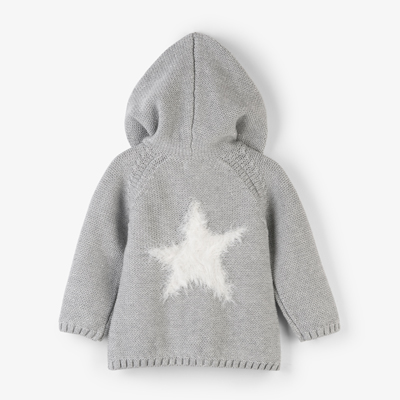 Grey shimmer hooded baby sweater 2