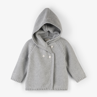 Grey shimmer hooded baby sweater 1