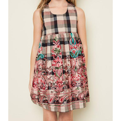 Floral print plaid dress 1