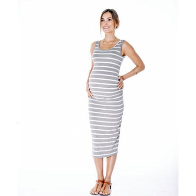 Billie gray stripe maternity dress 1