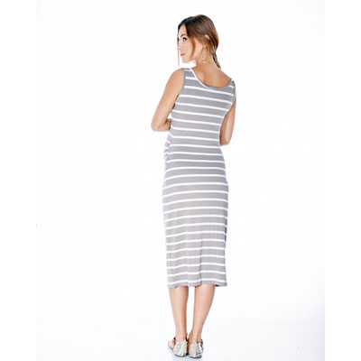 Billie gray stripe maternity dress 2