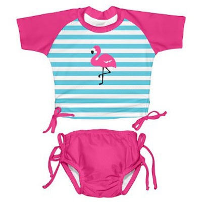 Mod Ultimate Swim diaper tie rashguard set - Flamingo - 6 months 1