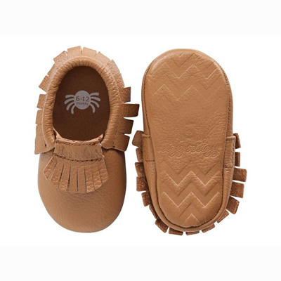Toasted almond baby moccasins 1