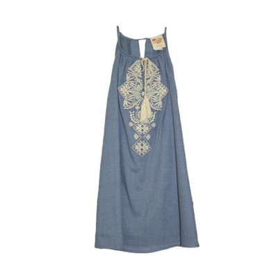 Blue denim dress with embroidered details 1