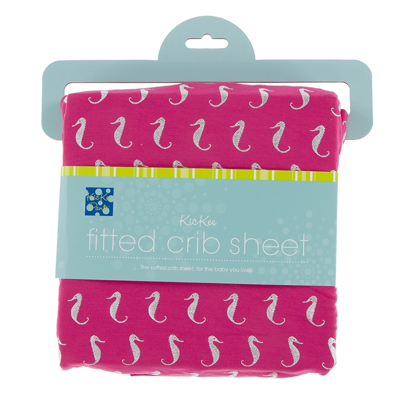 Prickly Pear Mini Seahorses Fitted Crib Sheet - One size 1
