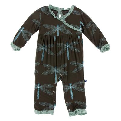 Giant Dragonfly Long Sleeve Kimono Ruffle Romper  - Newborn 1